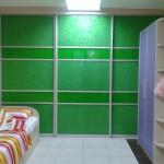 """Перегородка межкомнатная. Система дверей-купе Absolut doors system цв.""""Серебро матовое"""",  фасады сегментированные: комбинация - стекло с цветной пленкой ORACAL цв.""""Светло-зеленый"""" + стекло с пескоструйным рисунком и цветной пленкой ORACAL цв.""""Светло-зеленый""""."""
